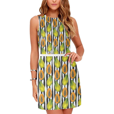 Papaya Pattern Print Design PP01 Sleeveless Mini Dress-JorJune