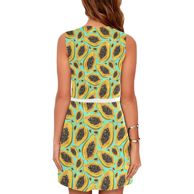 Papaya Pattern Print Design PP03 Sleeveless Mini Dress-JorJune