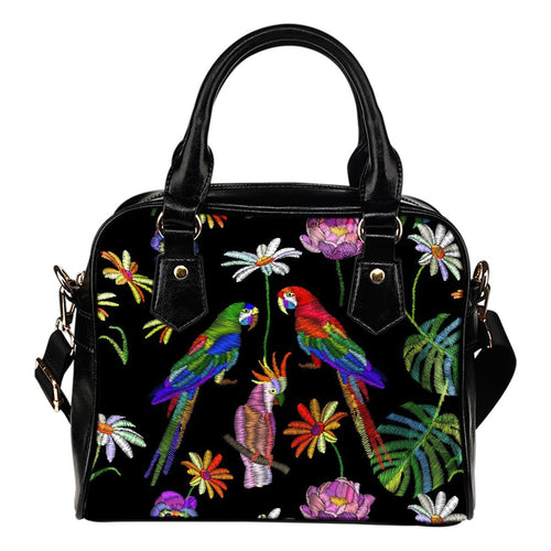 Parrots printed embroidered Leather Shoulder Handbag
