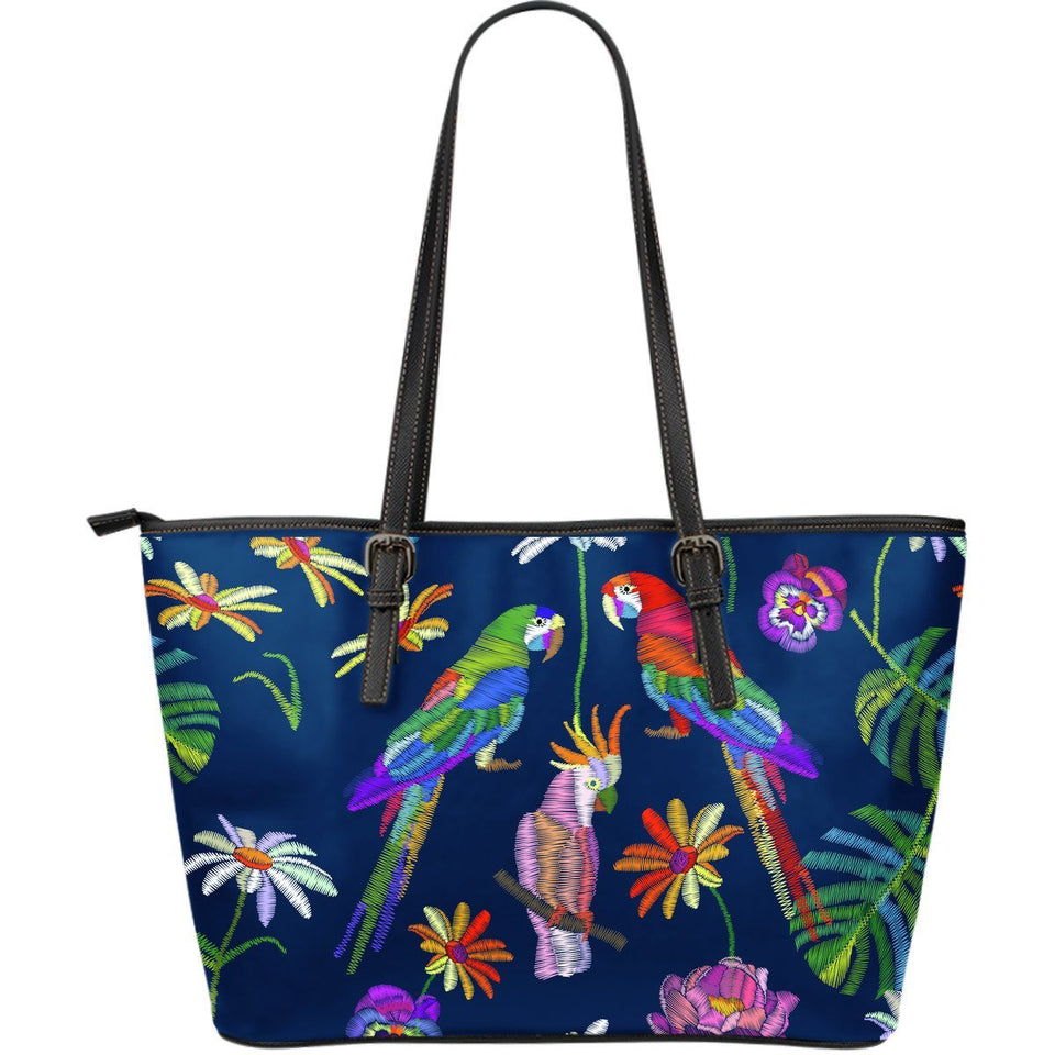 Parrots printed embroidered Style Large Leather Tote Bag