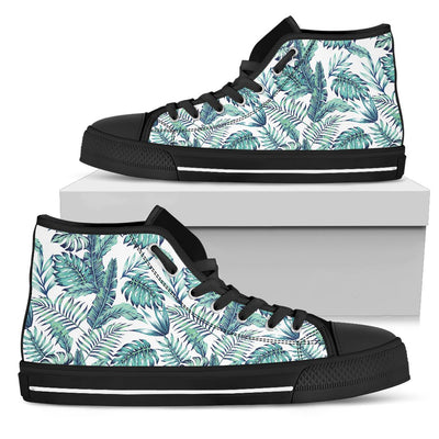 Pattern Tropical Palm Leaves Men High Top Canvas Shoes