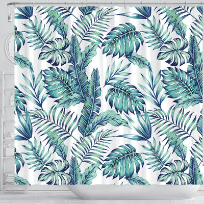 Pattern Tropical Palm Leaves Shower Curtain