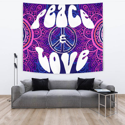 Peace Blue Mandla Wall Tapestry