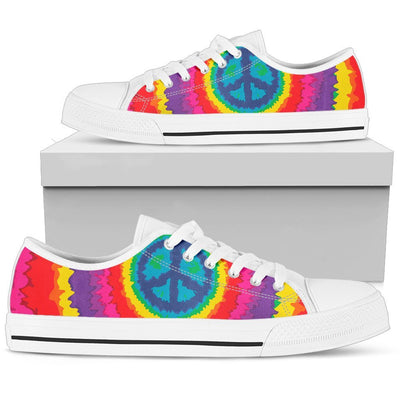 Peace Hippie Tie Dry Men Low Top Canvas Shoes