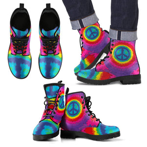 Peace Hippie Tie Dry Women & Men Leather Boots