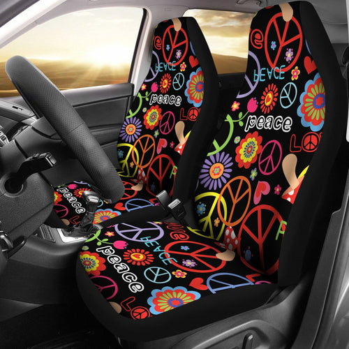 Peace Sign Colorful Design Print Universal Fit Car Seat Covers