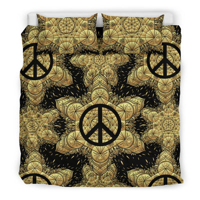 Peace sign Gold Mandala Duvet Cover Bedding Set