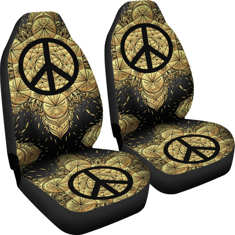 Peace sign Gold Mandala Universal Fit Car Seat Covers