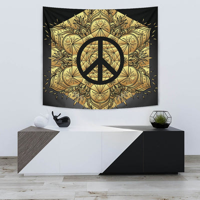 Peace sign Gold Mandala Wall Tapestry