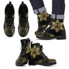 Peace Sign Gold Mandala Women & Men Leather Boots
