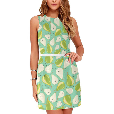 Pear Pattern Print Design PE04 Sleeveless Mini Dress-JorJune