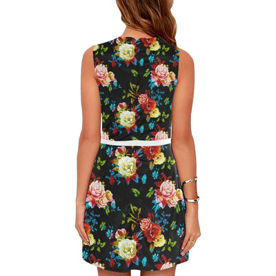 Peony Pattern Print Design PE07 Sleeveless Mini Dress-JorJune