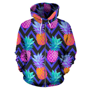 Pineapple Color Art Pattern All Over Zip Up Hoodie
