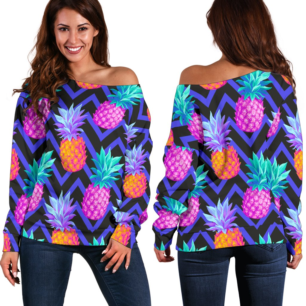Pineapple Color Art Pattern Off Shoulder Sweatshirt