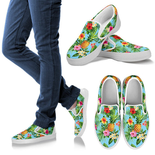Pineapple Hawaiian Flower Tropical Men Slip On Shoes