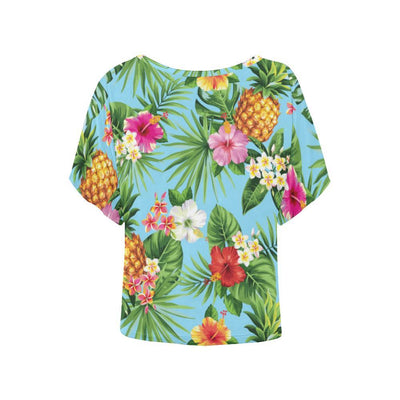 Pineapple Hawaiian flower Tropical Women Batwing Tops Shirt