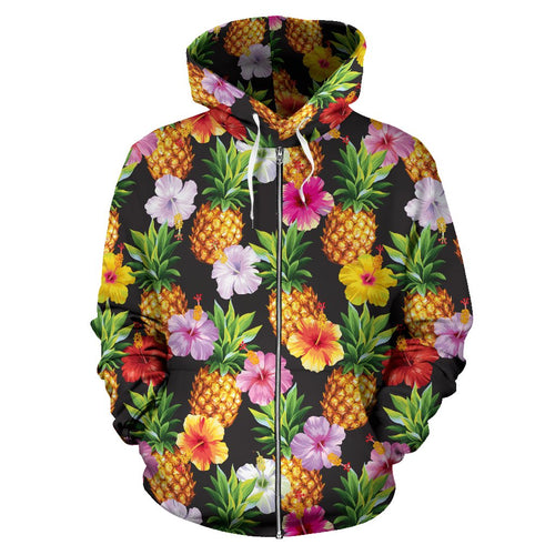 Pineapple Hibiscus All Over Zip Up Hoodie