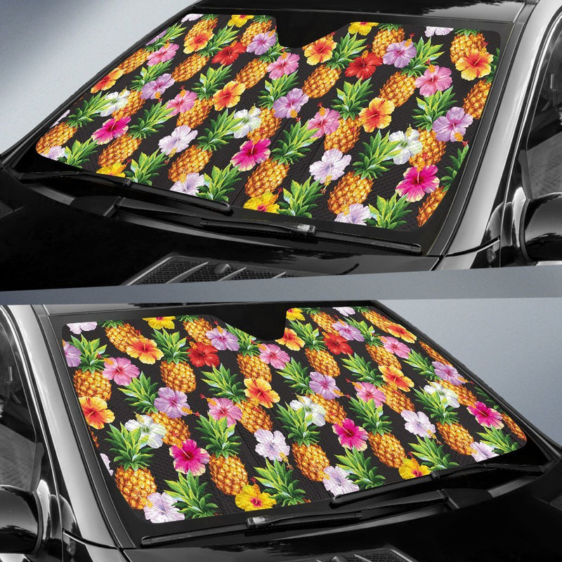 Pineapple Hibiscus Car Sun Shade-JorJune