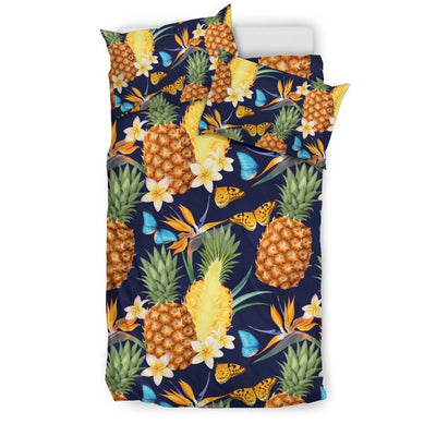Pineapple Butterfly plumeria Tropical Duvet Cover Bedding Set