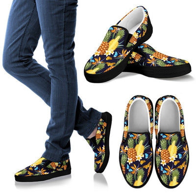Pineapple Butterfly Plumeria Tropical Men Canvas Slip On Shoes