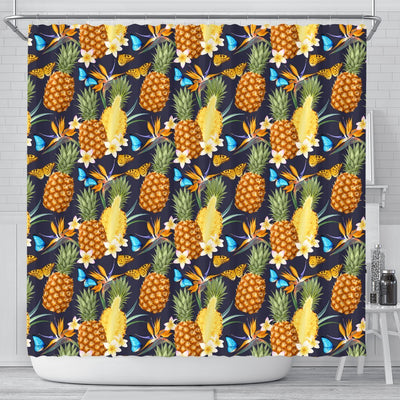 Pineapple Butterfly plumeria Tropical Shower Curtain