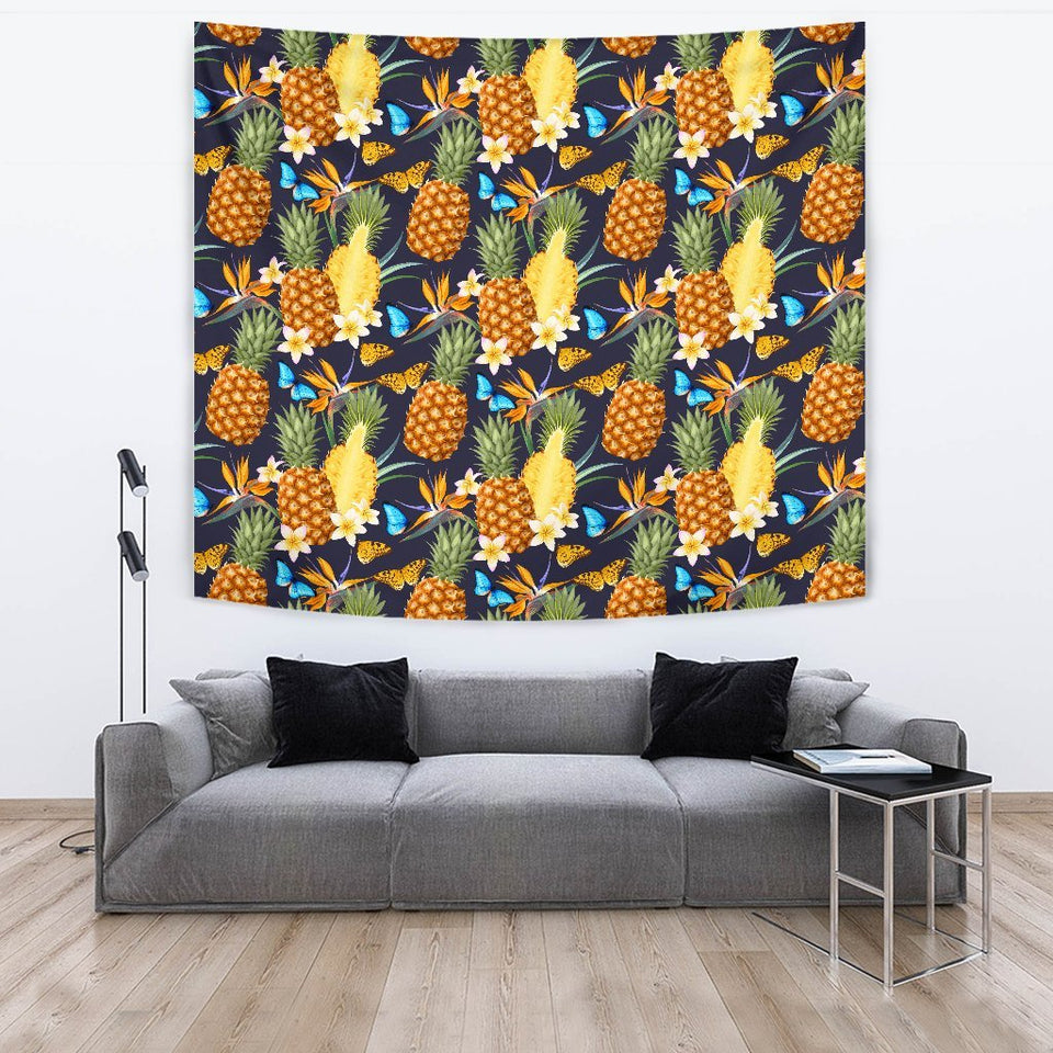Pineapple Butterfly plumeria Tropical Wall Tapestry