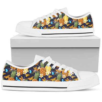 Pineapple Butterfly Plumeria Tropical Women Low Top Canvas Shoes