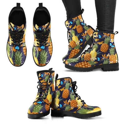 Pineapple Butterfly Plumeria Tropical Women & Men Leather Boots
