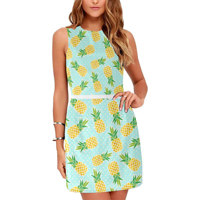 Pineapple Pattern Print Design PP01 Sleeveless Mini Dress-JorJune