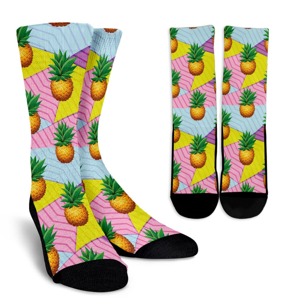 Pineapple Pattern Print Design PP05 Crew Socks-JORJUNE.COM