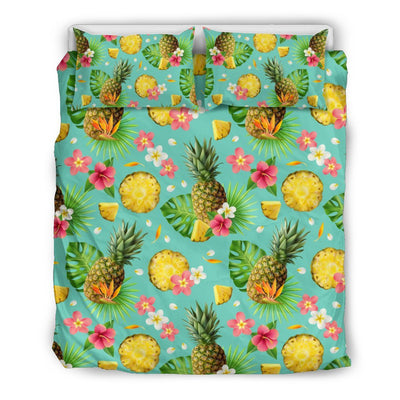 Hibiscus Pineapple Hawaiian Tropical Duvet Cover Bedding Set