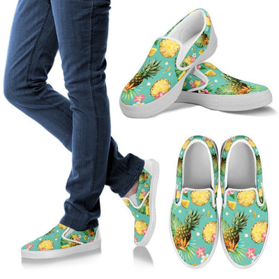 Hibiscus Pineapple Hawaiian Tropical Men Canvas Slip On Shoes