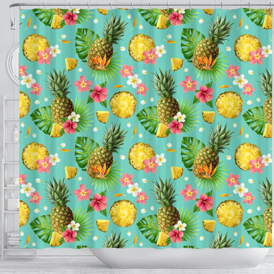 Hibiscus Pineapple Hawaiian Tropical Shower Curtain