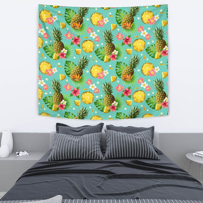 Hibiscus Pineapple Hawaiian Tropical Wall Tapestry