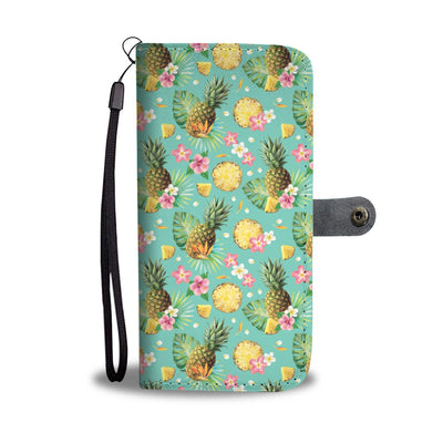 Hibiscus Pineapple Hawaiian Tropical Wallet Phone Case