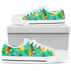 Hibiscus Pineapple Hawaiian Tropical Women Low Top Canvas Shoes