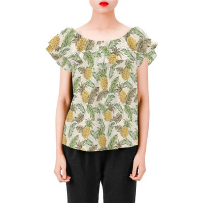 Pineapple Vintage Tropical leaves Off Shoulder Ruffle Blouse