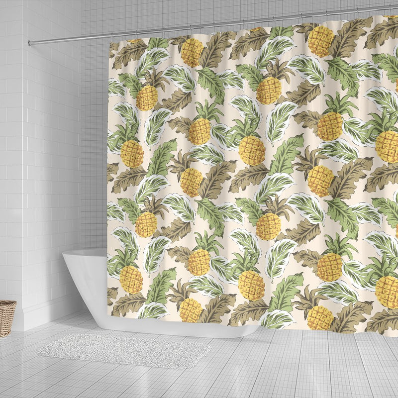 Pineapple Vintage Tropical leaves Shower Curtain