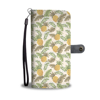 Pineapple Vintage Tropical Leaves Wallet Phone Case