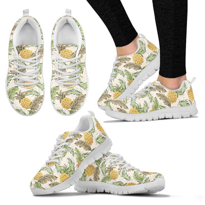 Pineapple Vintage Tropical leaves Women Sneakers