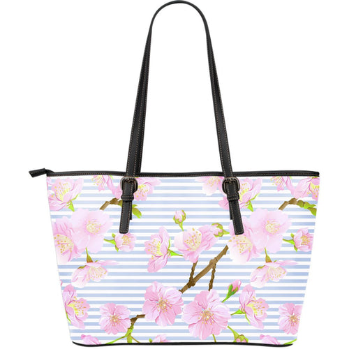 Pink Cherry Blossom Sakura Large Leather Tote Bag