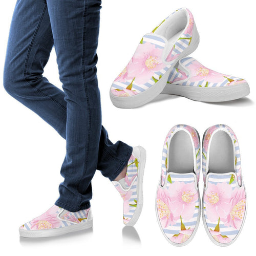 Pink Cherry Blossom Sakura Men Canvas Slip On Shoes