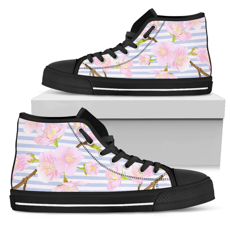 Pink Cherry Blossom Sakura Men High Top Canvas Shoes