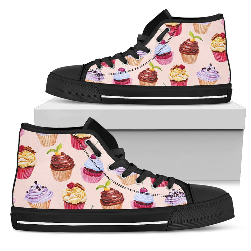 Pink Cupcake Pattern Men High Top Canvas Shoes