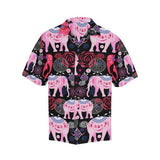 Pink Elephant Pattern Men Hawaiian Shirt