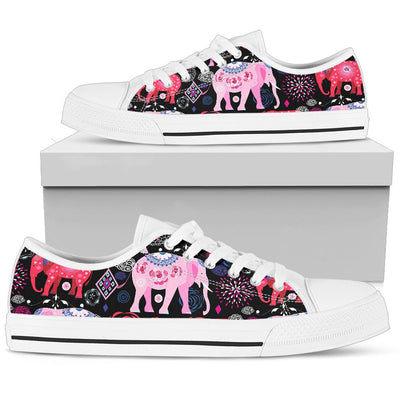 Pink Elephant Pattern Men Low Top Shoes