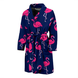 Pink Flamingo Pattern Men Bath Robe