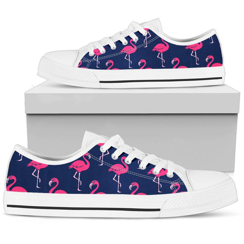 Pink Flamingo Pattern Men Low Top Shoes