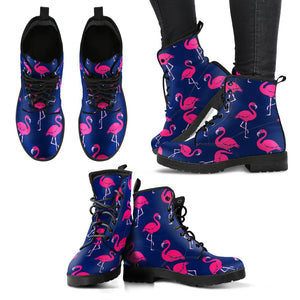 Pink Flamingo Pattern Women Leather Boots