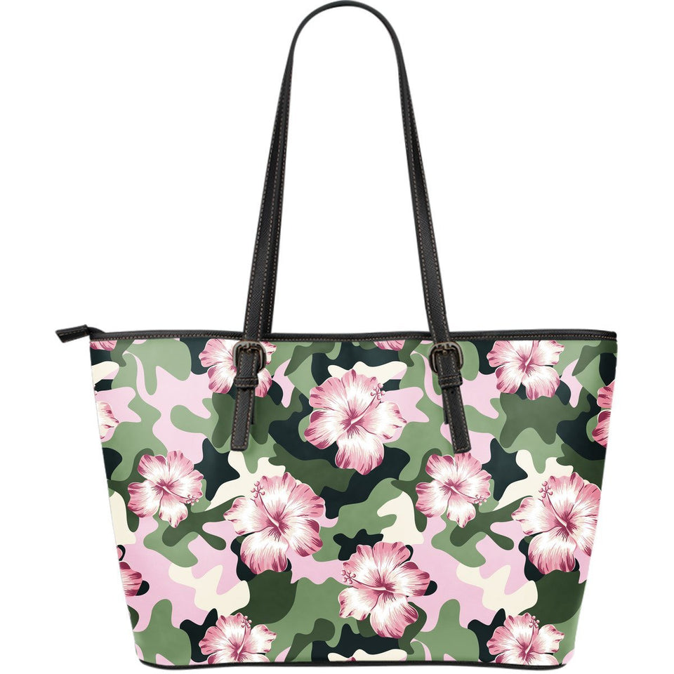 Pink hibiscus camouflage Large Leather Tote Bag